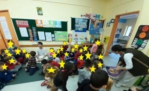 Τα παιδιά γεύονται το φρεσκοψημένο ψωμί που ζύμωσαν